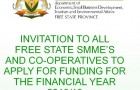 Invitation to Free State SMMEs and Co-operatives to apply for funding